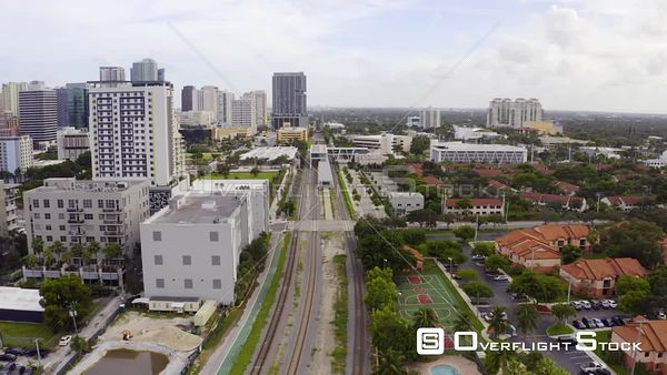 Railroad Tracks Running Through City of Fort Lauderdale Fl Usa
