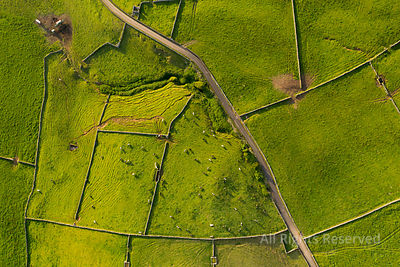 Aerial Views on the Typical Abstract Countryside of the East of Terceira Island, One of the Islands of the Acores (azores) Ar...