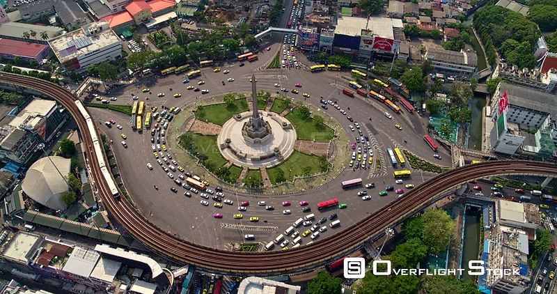 Thailand Bangkok Aerial Panning birdseye above Victory Monument