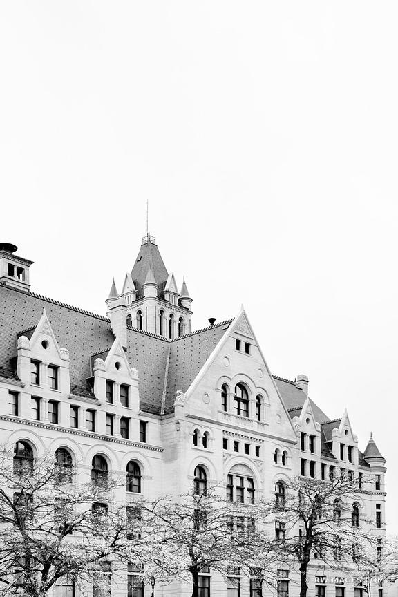 DOWNTOWN MILWAUKEE WISCONSIN HISTORIC ARCHITECTURE BLACK AND WHITE VERTICAL