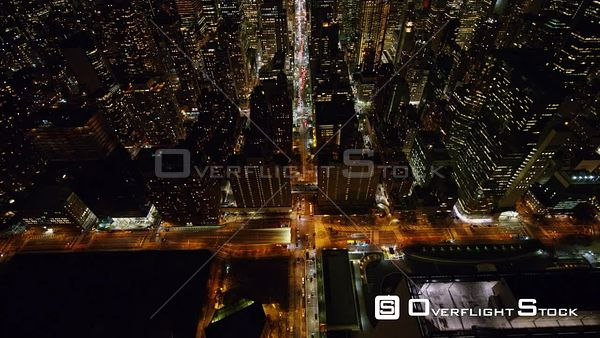 NYC New York Birdseye Midtown Manhattan cityscape traveling path of East 42nd St from east riverfront to central iconic view