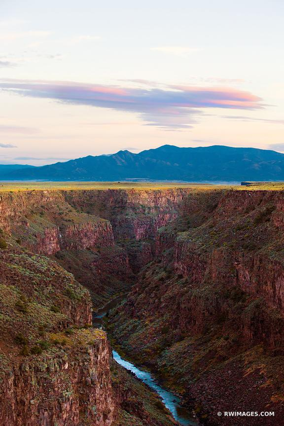 RIO GRANDE GORGE NEAR TAOS NEW MEXICO COLOR VERTICAL AMERICAN SOUTHWEST LANDSCAPE
