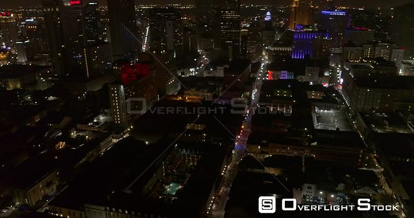 New Orleans Louisiana Aerial Panning, birdseye, to vertical view of French Quarter nightlife