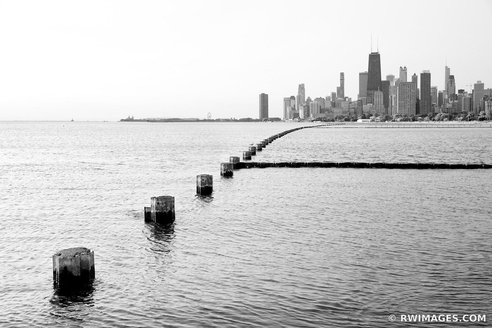 CHICAGO SKYLINE FROM FULLERTON AVENUE BEACH CHICAGO ILLINOIS BLACK AND WHITE