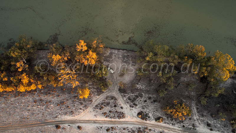 Aerial of 4x4 in bushland beside the Great Anabranch of the Darling.