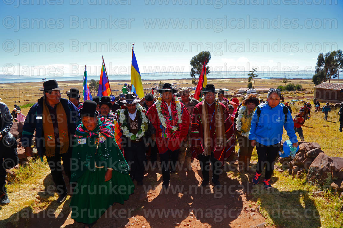Bolivian president Evo Morales Ayma (centre) leads an International Hike along a section of the Qhapaq Ñan Inca road from Aza...