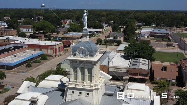 Clocktower and Water Towers, Downtown, Cameron, Texas, USA
