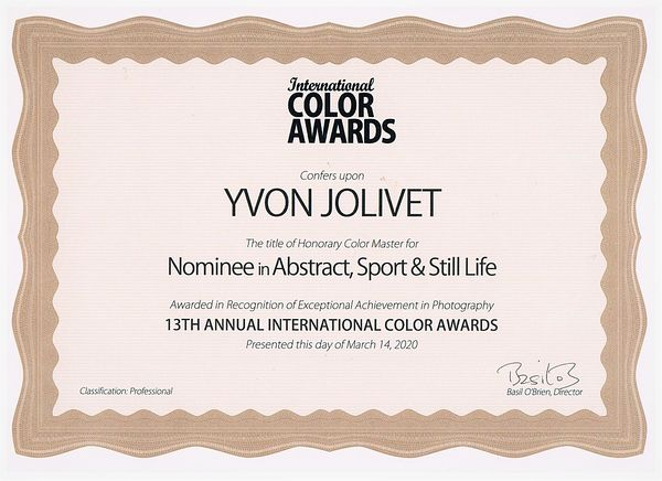 International Color Awards  Certificate