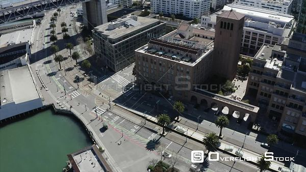 The Embarcadero Drone Aerial View Covid19 Lockdown San Francisco California