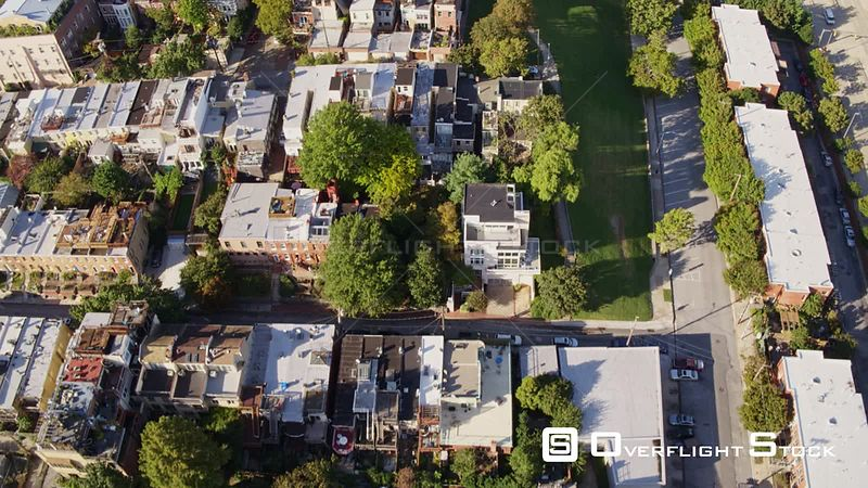 Baltimore Maryland Aerial Flying through Montgomery neighborhood to Federal Hill park