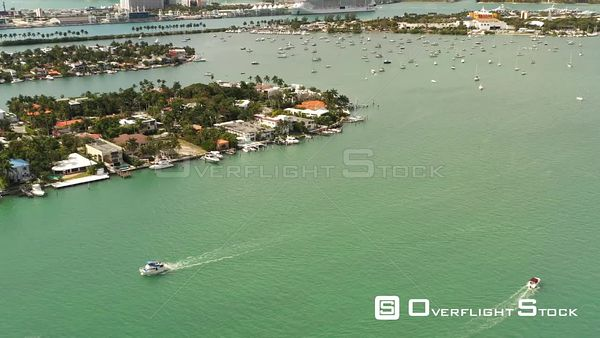 Miami Aerial Flyover Boats and Homes 4k