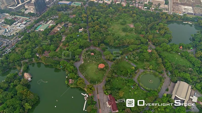 Thailand Bangkok Aerial Panning overhead view of Lumphini Park and surroundings