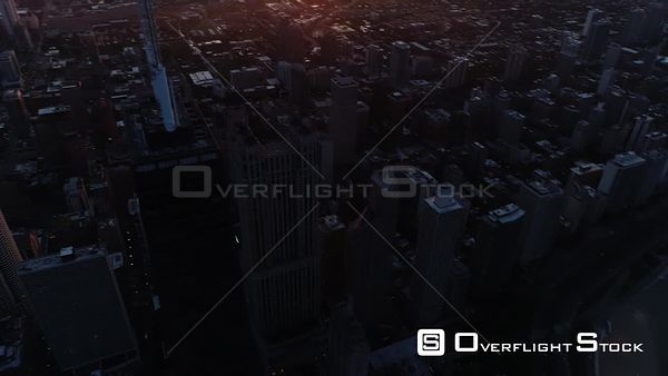 Sunset on Downtown Chicago Illinois Drone Aerial View
