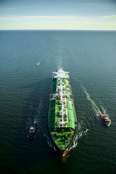 Photograph of an LNG tanker sailing in the Chesapeake Bay