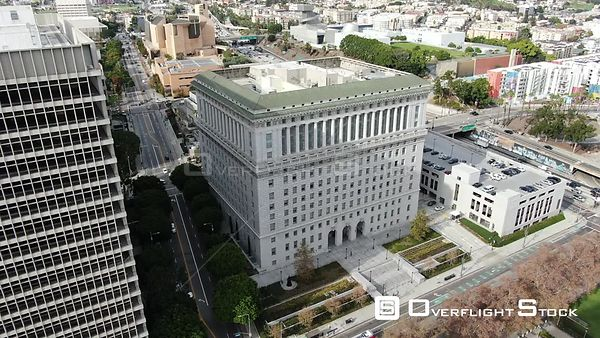 Drone Video The Hall Of Justice DTLA Los Angeles California