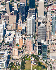 Downtown Houston Aerial photo showing Discovery Green and George R. Brown Convention Center