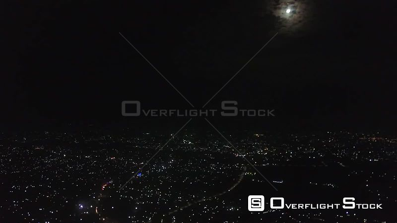 Night Aerial Video of Kampala Uganda Africa