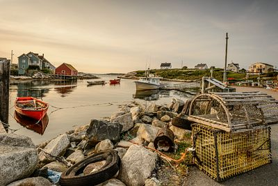 Lobster traps on the shore of Peggy's Cove