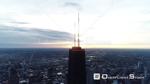 Sunset on 875 North Michigan Avenue Downtown Chicago Illinois Drone Aerial View