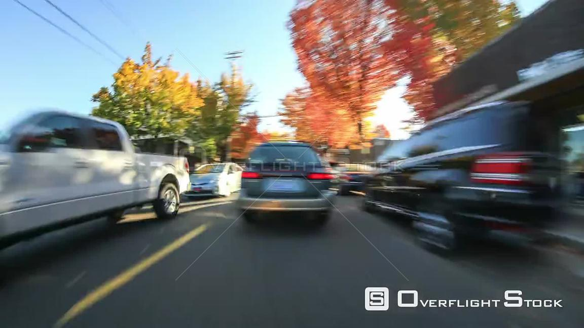 Driving time lapse through NW Portland into SW Portland neighborhoods Oregon
