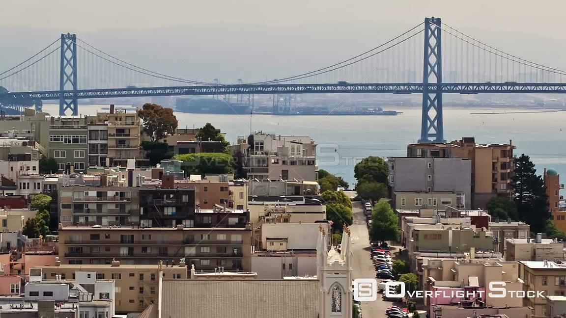 City traffic time lapse of Bay Bridge and city. San Francisco California