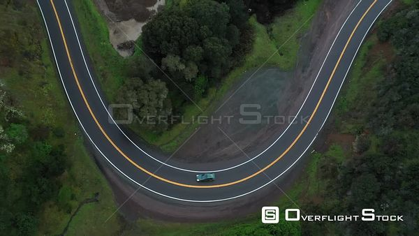 Tracking a Car on a Winding Moutain Road in Northern California Drone View