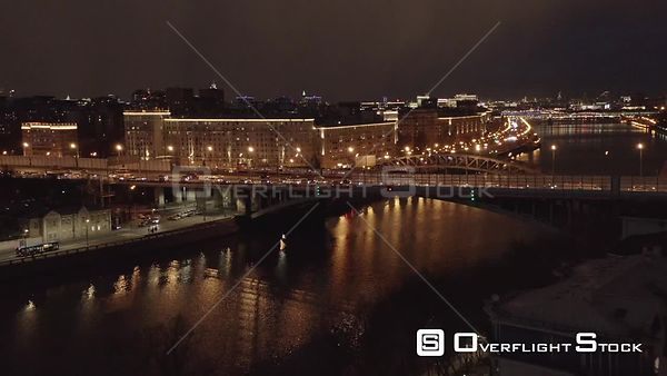 Night Flight Pass by Orthodox Church and Moscow River, With Night Cityscape. Moscow Russia Drone Video View