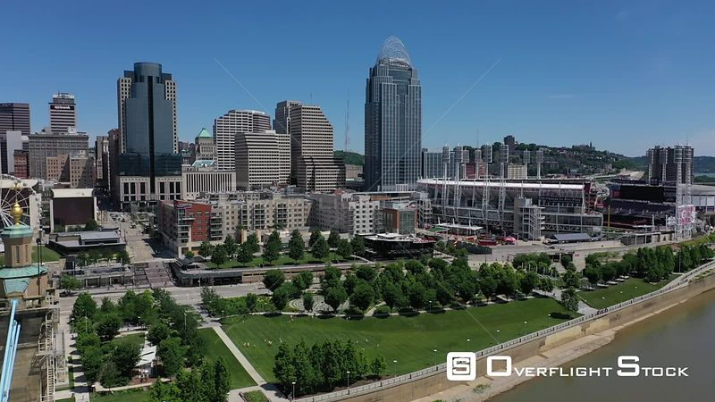 Downtown river front between the stadiums, Cincinnati, Ohio, USA