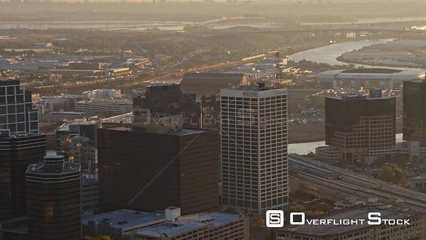 New Jersey Newark Aerial Cityscape Downtown Arenas Sunrise