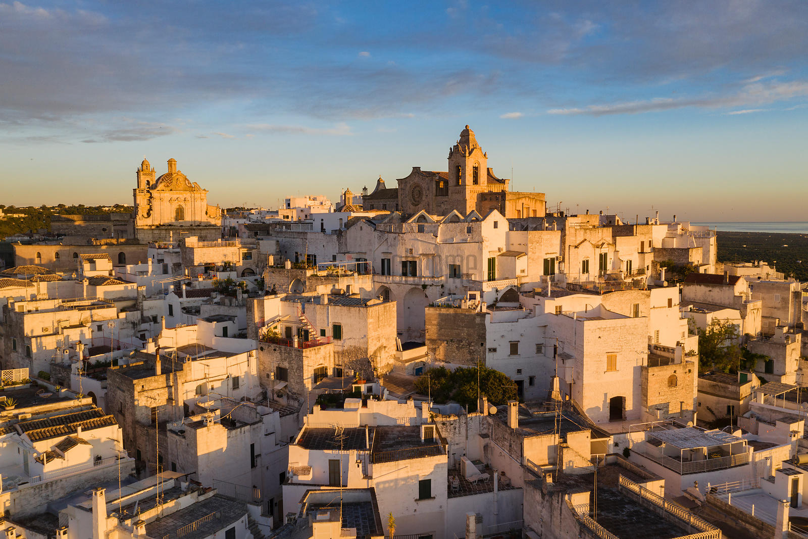 Elevated View of the Old Town of Ostuni at Sunrise