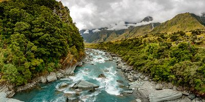 View from the Rob Roy glacier swing bridge over the Matukituki River.