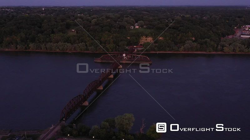 Railroad Swing Bridge and a Train Tunnel, Dubuque, Iowa, USA