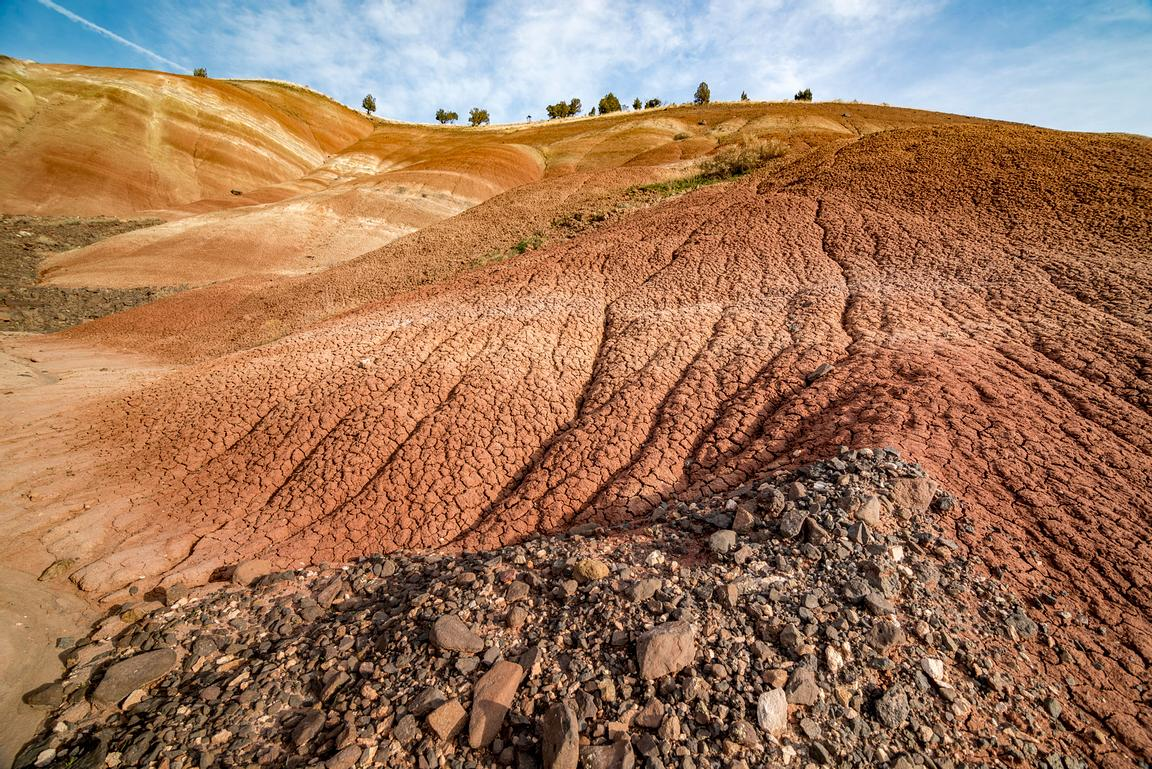Eroding volcanic ash in the Painted Hills, Oregon.
