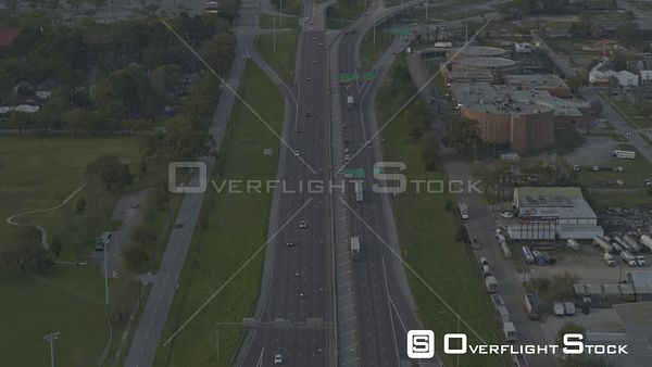 Mobile Alabama tilt up reveal of interstate 10 towards downtown city skyline  DJI Inspire 2, X7, 6k