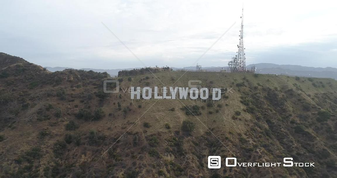 Pull Back From Hollywood Sign Los Angeles California