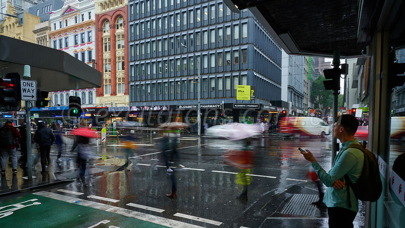 Street scene Melbourne, wet day.
