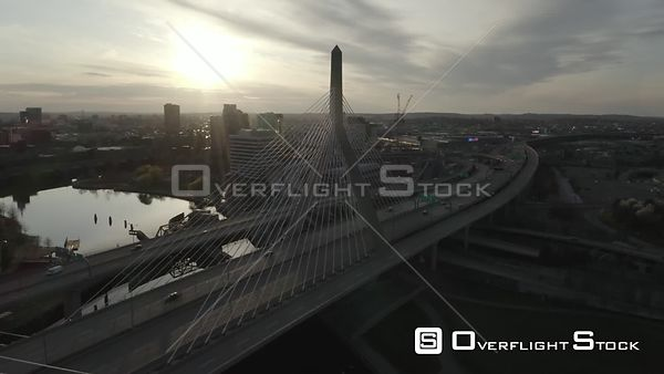 Zakim Bunker Hill Memorial Bridge in Boston, MA, United States at rush hour during the COVID-19 Pandemic (2 of 5)