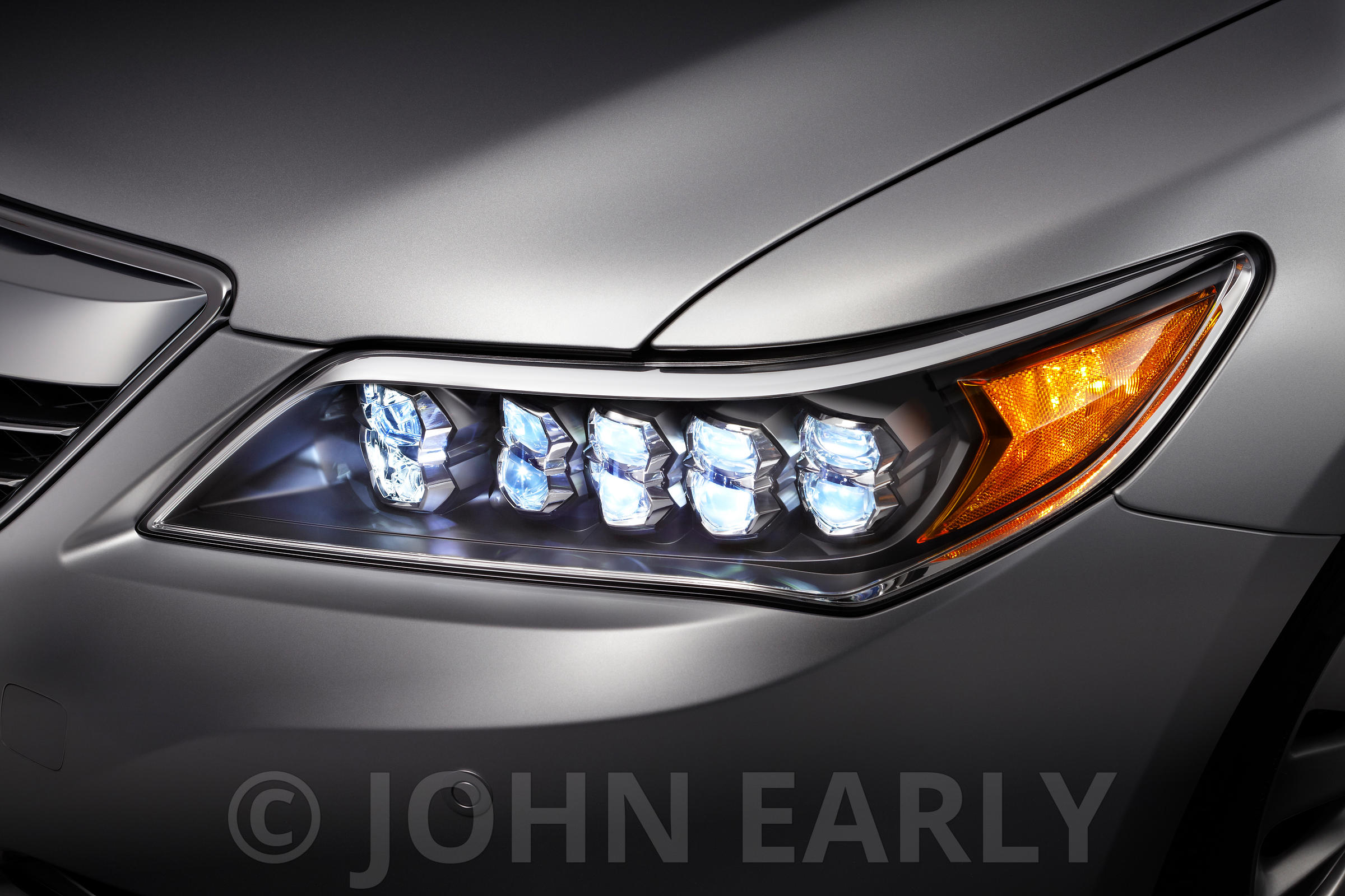Detail View of Multi-LED Headlight on A Silver Car