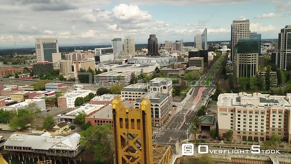 Drone Video Tower Bridge Sacramento California During COVID-19 Pandemic