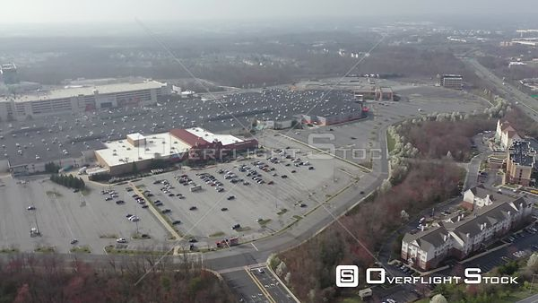 An empty mall parking lot in Hanover, Maryland, USA, hours after the governor closed malls because of the COVID-19