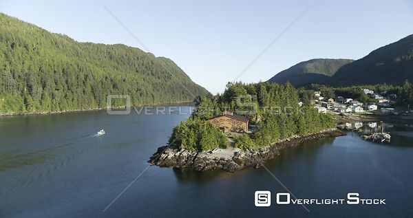 Central Coast, BC Canada. Great Bear Rainforest Fjords, Heiltsuk Nation, Bella Bella Long House Village