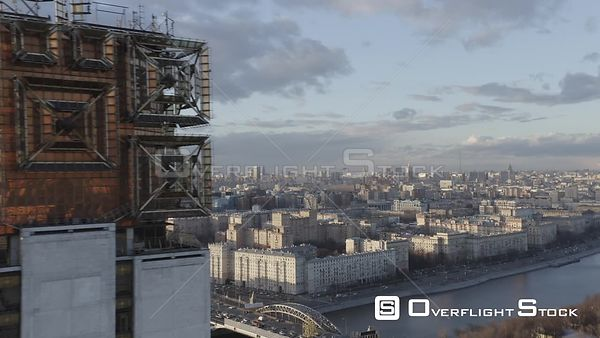 Fly by Russian Academy of Science Main Tower, With City Alternative City View. Moscow Russia Drone Video View