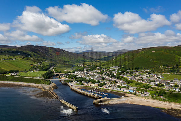 Aerial View of the Harbour and the Town of Helmsdale