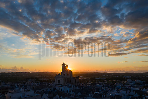 Aerial View of Locorotondo and the Chiesa Madre di San Giorgio Martire at Sunrise