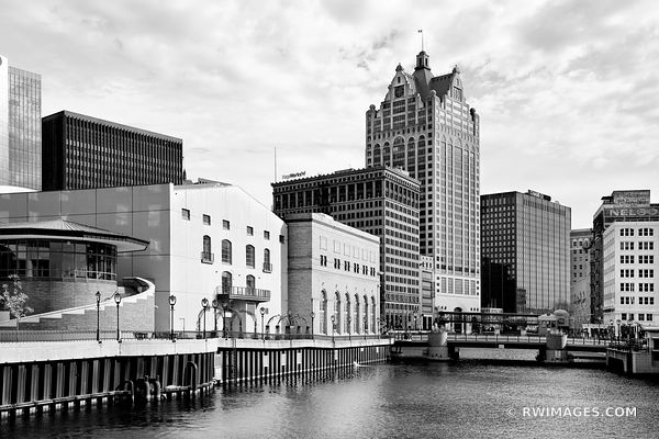 MILWAUKEE RIVER DOWNTOWN RIVERWALK MILWAUKEE WISCONSIN BLACK AND WHITE