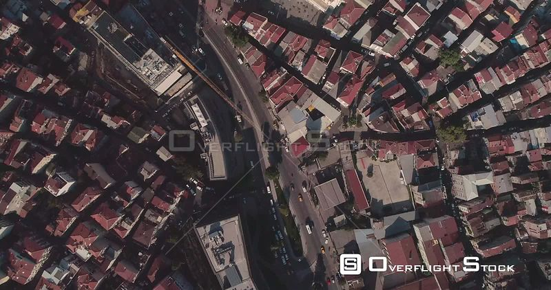 Aerial View Over Istanbul Looking Down, Birds Eye View Turkey