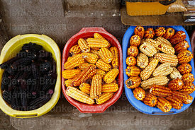 Varieties of maize (Zea mays) including the purple corn used to make chicha morada (L)  for sale,  Cusco, Peru
