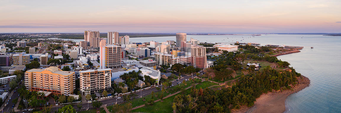 Aerial View of Darwin at Sunset