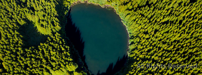 Aerial Top View of Lagoa Seca on Ilha Do Pico Island, a Volcanic Caldeira Crater in the Planalto Da Achada Central Plateau, A...