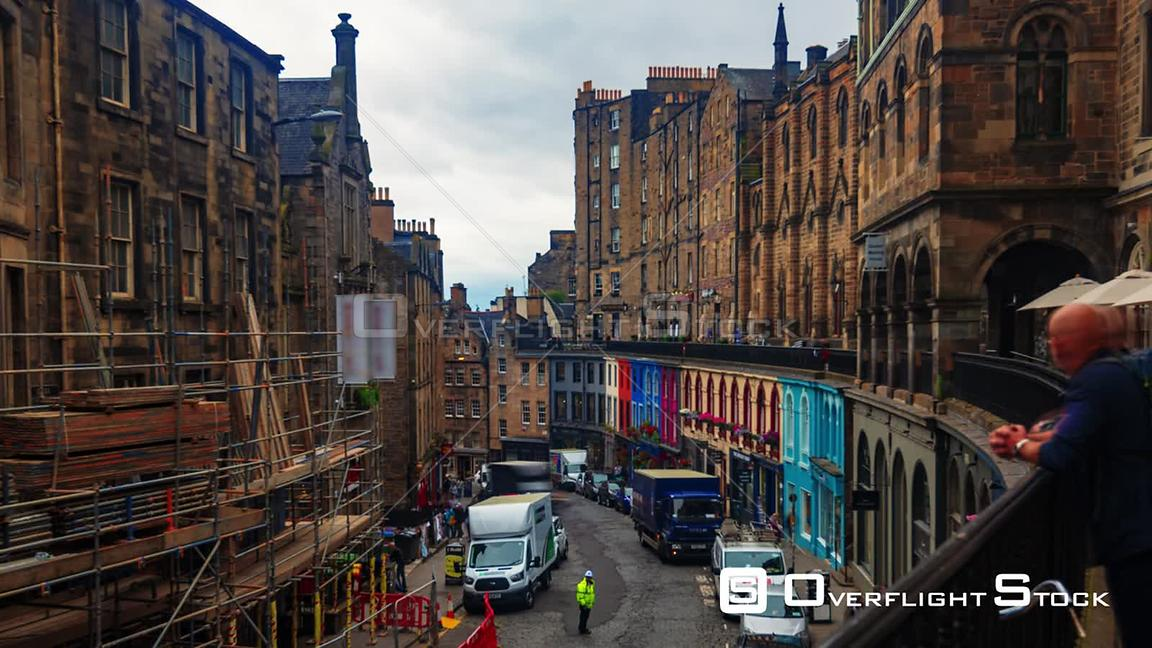 Timelapse View of Colourful Victoria Street in Edinburgh Old Town
